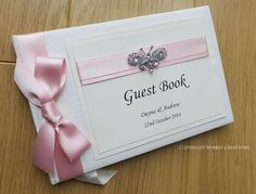 Crystal Butterfly - Wedding Guest Book in Pink