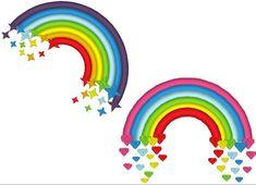 Cute Rainbows - set of two - machine embroidery applique designs, 4x4 adn 5x7…