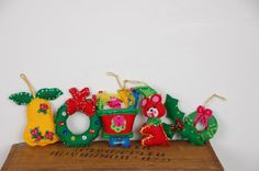 Vintage Felt Christmas Tree Ornaments  Beaded & by sugarSCOUT, $32.00