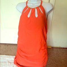 💫DOTW: $22💫 Orange Strappy Swimsuit Top 🎉 HP - Girly Girl Party 02/01/16 🎉 Worn 1x for 5hrs | Excellent Condition | Bright Orange Color | Gold Hardware | Sides Designed to Fit your Curves | Halter Style | Lightly Padded | Runs Small | Fits Size 16 | 82% Nylon | 18% Spandex |🚫 Trades | Feel Free to Ask Questions 🙋🏼| More 📷 Upon Request | Bundles & Offers are Welcomed ❤️| Cacique Swim