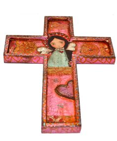 Wings of Love   Wall Cross Mixed Media Art by FLOR by FlorLarios, $55.00