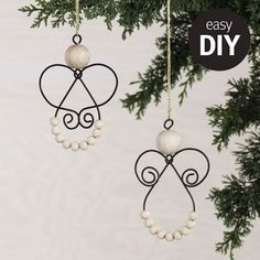 Easy Christmas Ornaments, Wire Ornaments, Angel Ornaments, Christmas Angels, Simple Christmas, Christmas Art, Wire Crafts, Holiday Crafts, Diy And Crafts