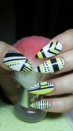 White, black and yellow stiletto nails- Abstract nails
