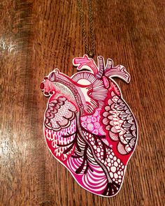 Anatomical Heart illustrated necklace made to by Laurakatedraws, £18.50