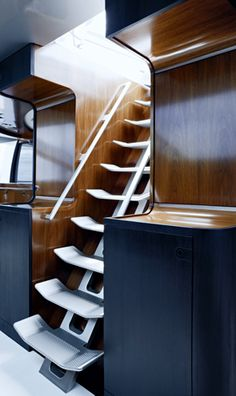 Yacht Interior, stairs take up less room