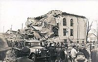 The remains of the New London TX School after the explosion of March 18, 1937. Makeshift mortuaries were set up everywhere -anyone with a vehicle took bodies to them. Mother Francis Hospital in nearby Tyler was due to have its Grand Opening the next day but opened a day early to accommodate the victims who survived.