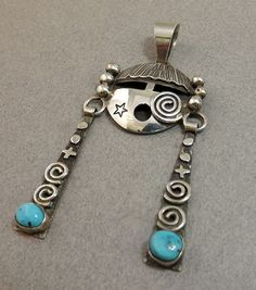 Pendant - Sterling Silver and Turquoise Yei by Alex Sanchez (Navajo)