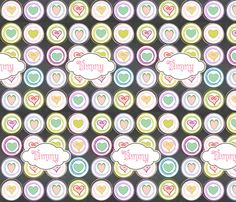 Badge of Hearts-personalized strawberry fabric by drapestudio on Spoonflower - custom fabric