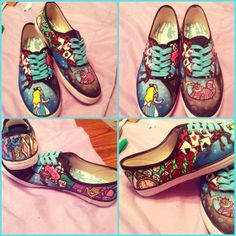 Custom Painted Shoes, Alice in Wonderland Painted Canvas Shoes, Custom Painted Shoes, Hand Painted Shoes, Custom Shoes, Alice In Wonderland Shoes, Alice In Wonderland Tea Party Birthday, Cool Converse, Converse Style, Disney Shoes
