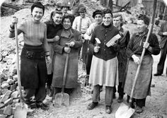 'Trümmerfrau (literally translated as ruins woman or rubble woman) is the German-language name for women who, in the aftermath of World War II, helped clear and reconstruct the bombed cities of Germany and Austria.    Between 1945 and 1946, the Allied powers, in both West Germany and East Germany, ordered all women between 15 and 50 years of age to participate in the postwar cleanup.'