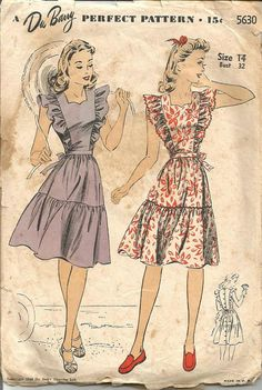 1940s Sundress or Pinafore Ruffles Tiered Flared by kinseysue