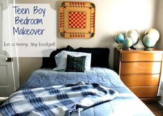 Teen Boy Bedroom Makeover (On A Budget) « Nancherrow. Entire room makeover for under $150, using mostly thrifted and attic finds.
