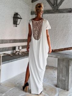 Stylish Elegant Ivory Maxi Dress with Lace Details by Synthia Psarru - Handmade Clothes