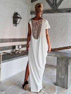 Ivory Maxi Dress Kaftan with Lace Mesh Details / Asymmetric