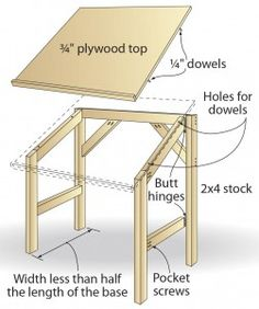 Build your own drafting table, cheap! | Woodworking, Desks and Art ...