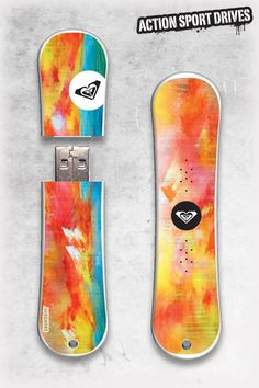 Roxy SnowDrive : Crimson Tracks USB Flash Drive // Action Sport Drives have teamed up with the best snowboard companies in the industry to create the original USB Flash Drive snowboard. We've combined this innovative design with Roxy graphics like their Crimson Tracks Model.    Now you can get your favorite snowboard graphics, and transfer files in style.