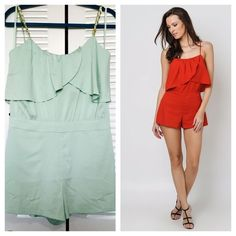 NWT Bebe mint green romper New with tags Bebe mint green drape romper. Golden chain detail on straps. Back zipper Adjustable straps. Shell: 95% polyester,  5% spandex Superficie: 95% polyester,  5% elastano No trade. Also posted in mer©@ri for less. bebe Other