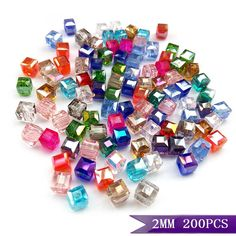 High quality 200pcs mix beads AAA Square shape Upscale Austrian crystal beads 2MM 3mm 4mm 6mm 8 loose quadrate glass supply H464-in Beads from Jewelry & Accessories on Aliexpress.com | Alibaba Group