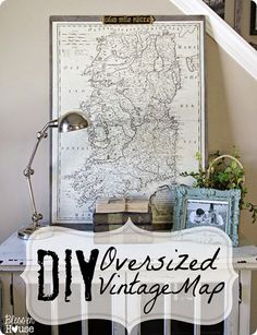DIY Home Decor | Wall Art | Don't pay Restoration Hardware prices! Get the steps to make your own oversized vintage map on your own computer.  Also like to sites for free downloadable historical maps.