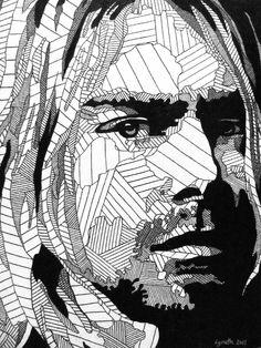 Kurt Cobain of Nirvana adult colouring page: Colouring Sheets For Adults, Coloring Sheets, Coloring Books, Cool Coloring Pages, Adult Coloring Pages, Art Textile, Pen Art, Art Techniques, Line Drawing