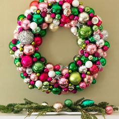 Christmas Ball Wreath - Wreaths for Christmas Door Decorations - Good Housekeeping Christmas Ornament Wreath, Christmas Wreaths To Make, Noel Christmas, Christmas Balls, Holiday Wreaths, Winter Christmas, Holiday Crafts, Christmas Decorations, Bauble Wreath