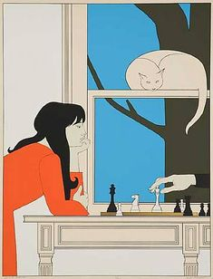 Illustration by Will Barnet, Seventh Season, Color serigraph. Art And Illustration, Illustrations Posters, Poster Design, Art Design, She And Her Cat, Artwork Images, Barnet, American Artists, Cat Art
