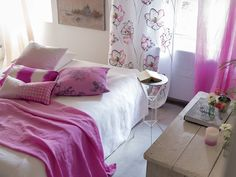 Pops of fuchsia in silk, linen and cotton to add depth to the bedroom, Designers Guild