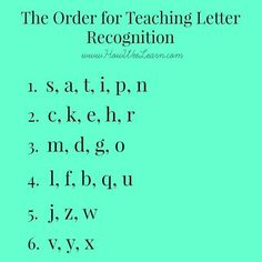 The order for teaching letter recognition, and why! Plus a ton of fun games and activities to have little ones learn the alphabet, letter sounds, and how to print in no time!: alphabet Teaching Letter Recognition - what order to introduce letters Preschool Literacy, Kindergarten Reading, Teaching Reading, Teaching Kids, Preschool Alphabet, Early Literacy, Alphabet Games, Alphabet Letters, Literacy Activities