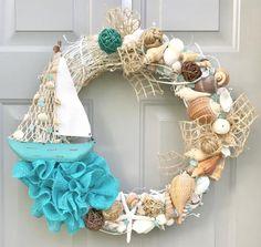 Beach Wreath, Seashell Wreath, Sailboat Wreath, Sea Shell Wreath images ideas from Beautiful Beach Photos Starfish Wreath, Coastal Wreath, Nautical Wreath, Coastal Decor, Beach Wreaths, Coastal Curtains, Coastal Bedding, Modern Coastal, Coastal Farmhouse
