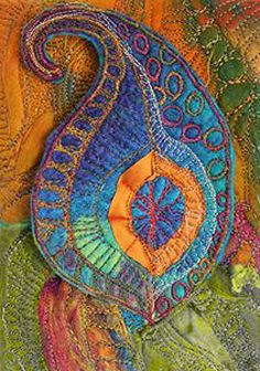 """chelle textiles This would be a good way to balance """"passing through"""" Thread Painting, Fabric Painting, Fabric Art, Fabric Crafts, Textile Fiber Art, Textile Artists, Fiber Art Quilts, Free Motion Embroidery, Embroidery Art"""