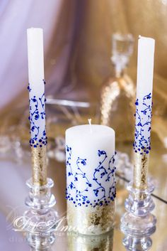 Royal blue and gold wedding unity candles, personalized votive candles, wedding gifts from the collection Art Deco, electric wedding, 3pcs