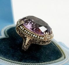 Antique Large Real Amethyst Seed Pearl Ring 14k White Gold Filigree Size3 #NotSigned #Cluster