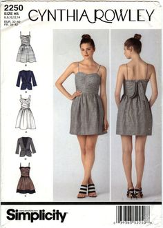 Simplicity 2250 Misses' Dress in Two Lengths, Jacket and Tie Belt