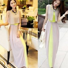 Women's  Chiffon Long Dresses 2014 Fashion Patchwork Elegant Dress Sleeveless Contrast Color Prom Dress Free Shipping $16.99