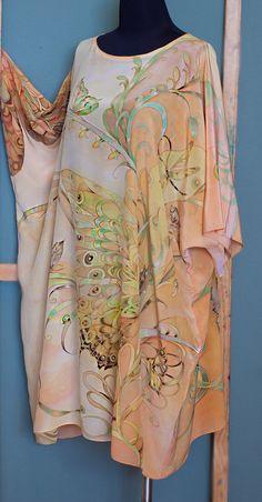 4c87f726a26 Hand Painted Silk Caftan Dress Silk Tunic Kaftan by SilkWonder Silk Tunic,  Silk Kimono,