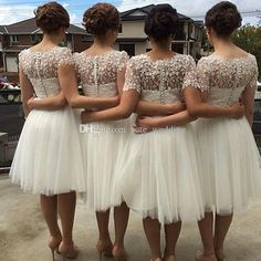 White Bridesmaid Dresses Short Sleeves Bridesmaid Dress Lovely Tulle Lace Short Party Dresses Knee Length Plus Size Prom Dresses Bridesmaids Dresses Online Cheap Bridesmaid Dresses Online From Yate_wedding, $69.52  Dhgate.Com