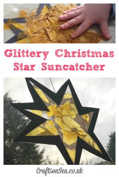 Glittery Christmas Star Suncatcher This Christmas star craft for preschoolers is the perfect activity for Suzy Goose and the Christmas Star and makes a cute and easy decoration. Preschool Christmas Activities, Christmas Crafts For Toddlers, Toddler Christmas, Christmas Star, Toddler Crafts, Preschool Crafts, Holiday Crafts, Summer Crafts, Holiday Ideas