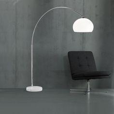 Lampadaire une lumière, finition chrome et diffuseur en verre blanc