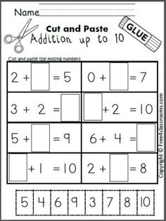 Free cut and paste addition math worksheet for adding up to 10.