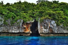 Mariners Cave    The waters between the islands of the Vava'u group are so blue, it's unbelievable. Some of the islands have sheer cliffs, others white sandy beaches. There are caves under water where you can dive or snorkel in. This cave is big enough to enter by boat.