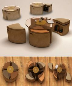 Concept by Choi Seonghwa, Windwheel is a table with 4 padded stools. The stools fit under the table when not in use to reduce the footprint of the Windwheel. The stools also have built in shelving so in addition to having a reduced footprint they include extra storage.