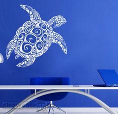 Grande tortue - sticker vinyle - livraison - Fun sous mer Wall Decal - gratuite sur Etsy, 41,76€