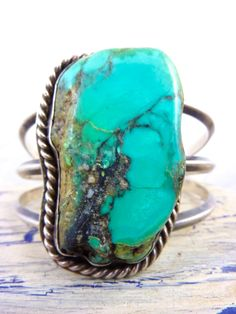 Huge Vintage Navajo Mesa Royston Turquoise Stone & Handmade Sterling Silver Cuff Bracelet. AMAZING Piece of Gorgeous Turquoise.