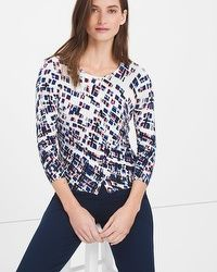 Three-Quarter Sleeve Geo Printed Cardigan