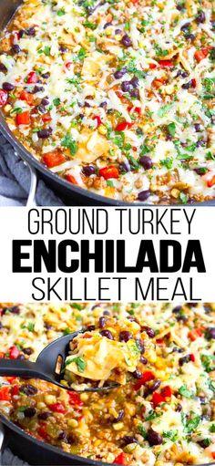 Ground Turkey Meals, Easy Ground Turkey Recipes, Weight Watchers Ground Turkey Recipe, Ground Turkey Enchiladas, Healthy Turkey Recipes, Healthy One Pot Meals, Healthy Ground Turkey, Ground Chicken Recipes, Easy One Pot Meals