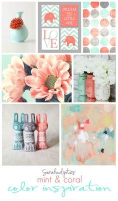 Pinterest Inspiration: Mint and Coral Color Inspiriation   Sarahndipities Mint Coral, Coral Color, Dream Big, Just Love, Color Inspiration, Color Schemes, Palette, Pattern, R Color Palette
