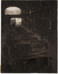 A photograph entitled 'The Cab Rest', by Walter Benington, 1909.    The photograph shows rows of hansom cabs waiting for passengers.