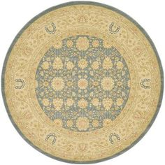 World Menagerie Fonciere Blue Area Rug Rug Size: Round 8'