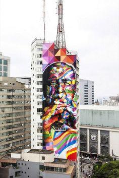 Pintura de Eduardo Kobra en Sao Paulo