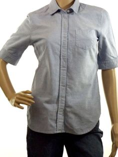 American Eagle Blue Chambray Short Sleeve Button Up Blouse Women's Size S Cotton…